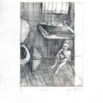 """Aislamiento"". Dry point. Limited edition (10 prints). 26 x 16 inches. 2009"