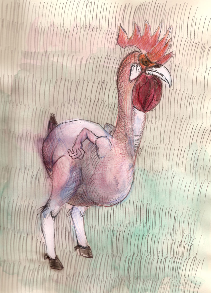 """Gallo"". Técnica Mixta sobre papel. 20 x 28 cm. 2009"